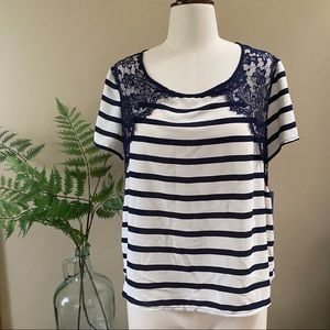 Jolt lace and striped short sleeved top